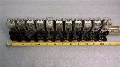 /-/Omron 11 Relays IEC255 w/ Sockets 2230HP on a Rail.Set sold as one unit.//_01