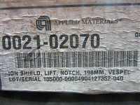 0021-02070//Applied Materials (AMAT) 0021-02070 ION SHIELD, LIFT , NOTCH, 198MM, VESPEL/Applied Materials (AMAT)/_02